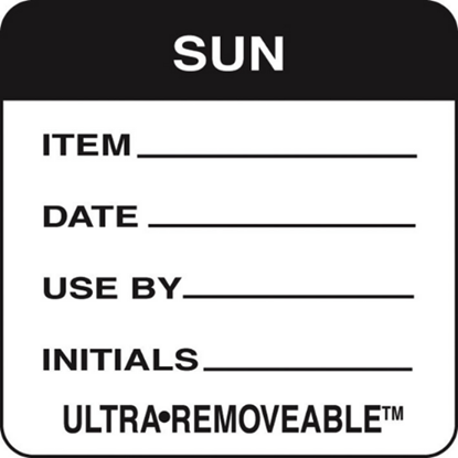 Use By Labels Sunday Black