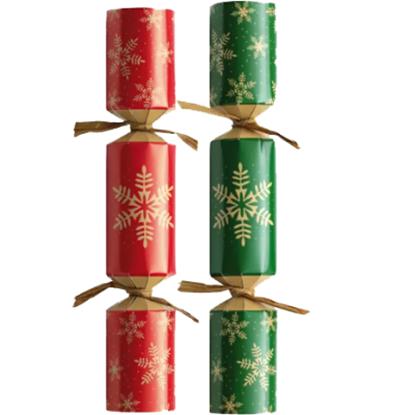 "Charity Christmas Cracker Green/Red Snowflake 9"""