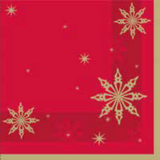 Red Snowflake Star Napkin 2Ply 33x33cm